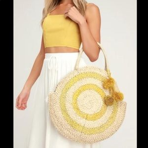 Anthropologie Oversized Circle Woven Tote